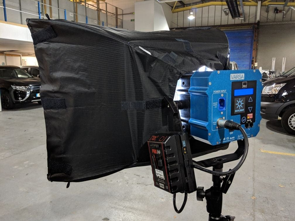 The Nila Varsa, with Chimera softbox attached to the light itself